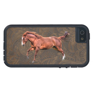 Wild Spirited Horse Tooled Leather-look Case Case For iPhone 5