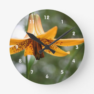 Wild Spotted Canadian Lily Flower Nature Round Clock