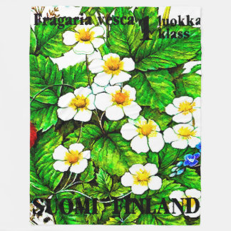 Wild strawberries fragaria vesca fleece blanket