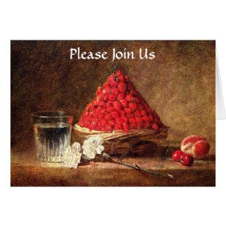 Wild Strawberries - Vintage Art -by Chardin Greeting Card