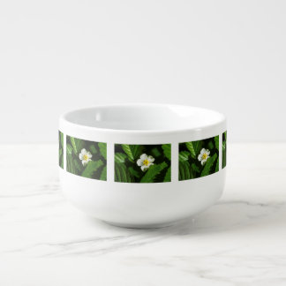 Wild Strawberry Flower Soup Bowl With Handle