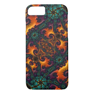 Wild Teal, Purple, Orange, and Yellow Fractal iPhone 8/7 Case