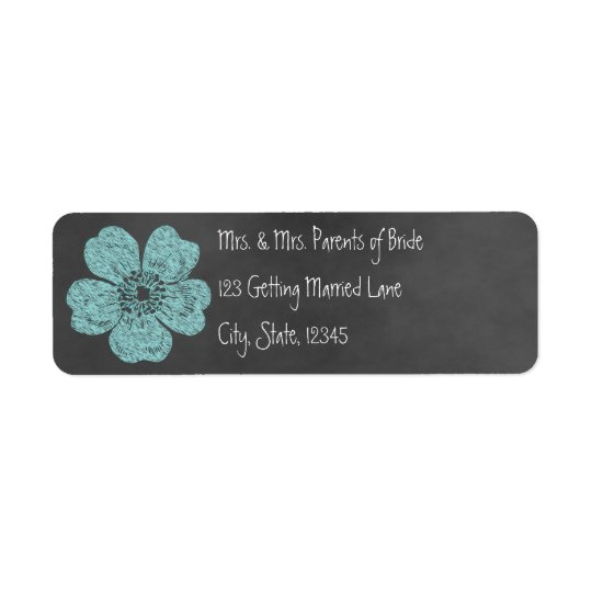 Wild Teal Roses Chalkboard Avery Label