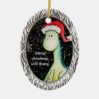 """""""Wild Thang"""" Christmas Dinosaur (Two Sided, Dated) Christmas Ornament"""