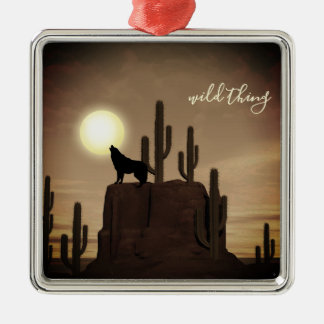 wild thing ~ Full Moon Wolf Howling Desert Cactus Christmas Ornament