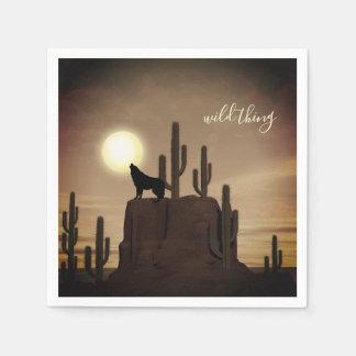 wild thing ~ Full Moon Wolf Howling Desert Cactus Paper Napkin