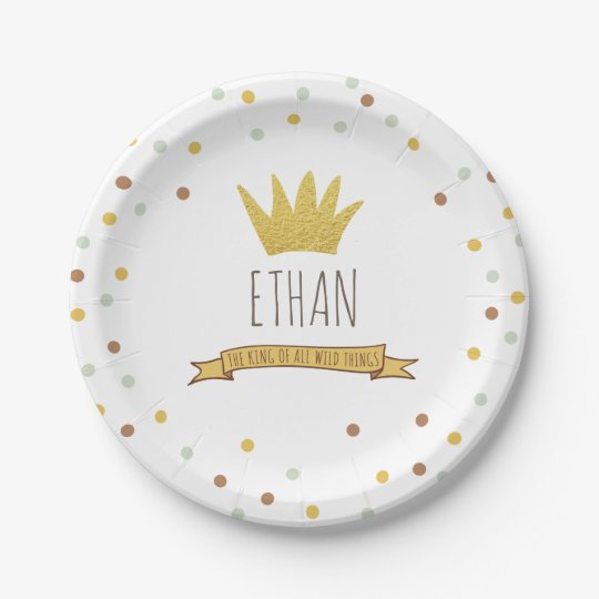 Wild Things Gold crown First birthday Paper Plates 7 Inch Paper Plate