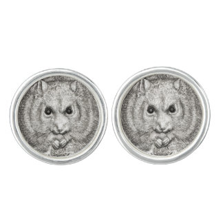 WILD THINGS: Silver Plated Hamster Round Cufflinks