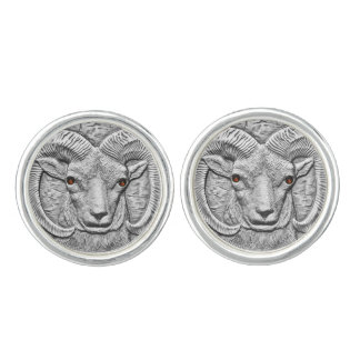 WILD THINGS: Silver Plated Ram Round Cufflinks
