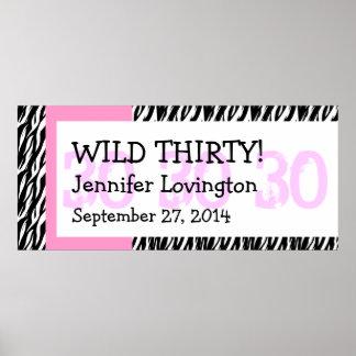 Wild Thirty Zebra Birthday Celebration Gift Y351 Poster