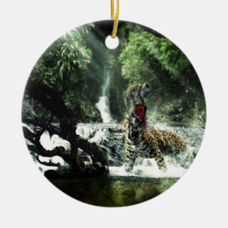 Wild Tiger Attacking a Monkey Christmas Ornament