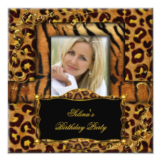 Wild Tiger Leopard Birthday Party Animal 13 Cm X 13 Cm Square Invitation Card