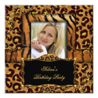 Wild Tiger Leopard Birthday Party Animal 13 Cm X 13 Cm Square Invitation Card