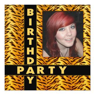 Wild Tiger Print Birthday Party Add Photo 13 Cm X 13 Cm Square Invitation Card