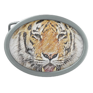 Wild Tiger Sketch - Safari Theme Oval Belt Buckle