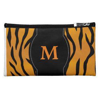 Wild Tiger Stripes with Personalized Monogram Cosmetic Bags