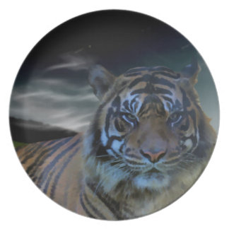Wild Tiger Watercolor Wildcat Party Plate