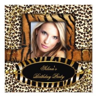 Wild Tiger Zebra Leopard Birthday Party Animal 13 Cm X 13 Cm Square Invitation Card