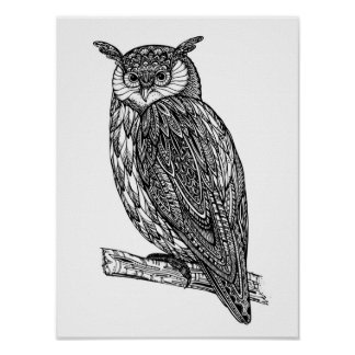 Wild Totem Animal Owl Doodle 2 Poster