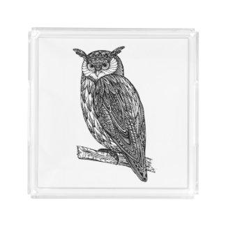 Wild Totem Animal Owl Doodle Acrylic Tray