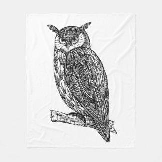 Wild Totem Animal Owl Doodle Fleece Blanket