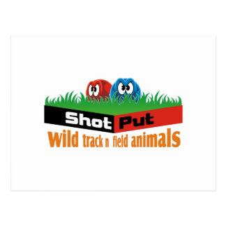 Wild track and field animals postcard