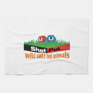 Wild track and field animals tea towel