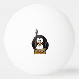 Wild Tribal Penguin Funny Cartoon Ping Pong Ball
