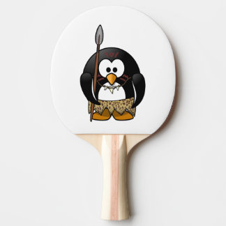 Wild Tribal Penguin Funny Cartoon Ping Pong Paddle