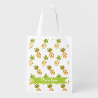 Wild Tropical Watercolor Pineapple Pattern Reusable Grocery Bag