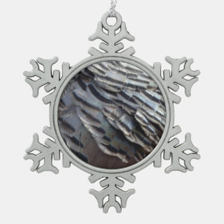 Wild Turkey Feathers II Abstract Nature Design Snowflake Pewter Christmas Ornament