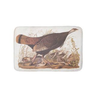 Wild Turkey Hen and Chicks Vintage Audubon Art Bath Mats