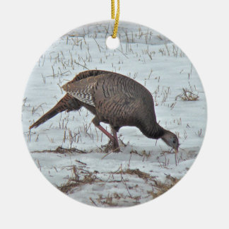Wild Turkey in Snowy Field Christmas Ornament