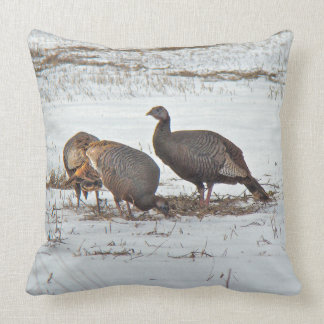 Wild Turkeys in Snow Cushion
