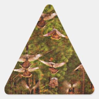 Wild Turkeys Triangle Sticker