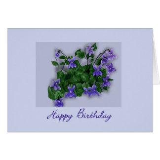 Wild Violets Happy Birthday Greeting Card