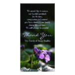 Wild Violets Memorial Sympathy Thank You Personalised Photo Card