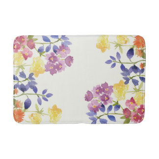 Wild Watercolour Colourful Flowers Bathmat