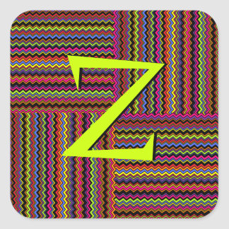 Wild Weaved Zig-Zags Square Sticker
