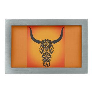 wild-west-cow-skull-horns-black-white-vector-clip- belt buckles