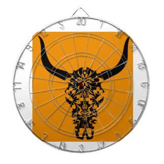 wild-west-cow-skull-horns-black-white-vector-clip- dartboard