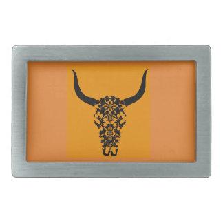 wild-west-cow-skull-horns-black-white-vector-clip- rectangular belt buckles