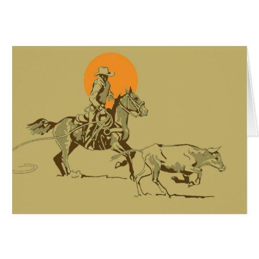 Wild West Cowboy at work Greeting Card