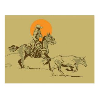 Wild West Cowboy at work Postcard