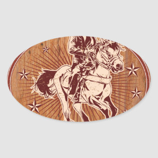Wild West Cowboy Country rodeo Western Oval Sticker