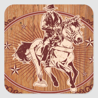 Wild West Cowboy Country rodeo Western Square Sticker