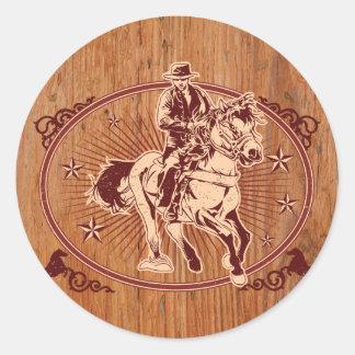 Wild West Cowboy Country rodeo Western Round Sticker