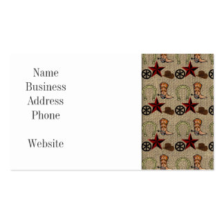 Wild West Cowboy Country Western on Burlap Pattern Business Card Templates