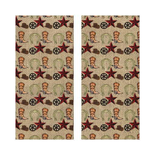 Wild West Cowboy Country Western on Burlap Pattern Stretched Canvas Prints