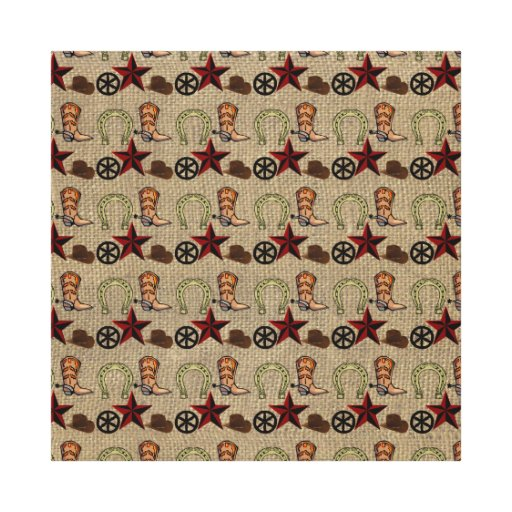 Wild West Cowboy Country Western on Burlap Pattern Gallery Wrapped Canvas